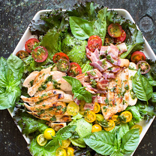 Grilled Lemon Chicken Salad with Basil Dressing.