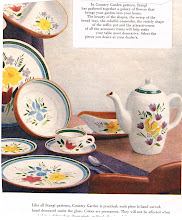 Photo: People who were into the new, sleek, modern designs of the 1950's also used to add a bit of country inspired accessories, like this set of dinnerware.
