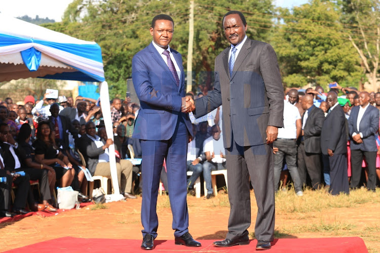 Machakos Governor Alfred Mutua and Wiper leader Kalonzo Musyoka at a funeral service on Tuesday, February 18, 2020.