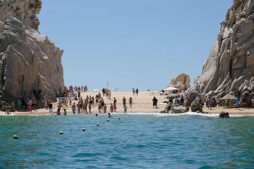 The landing at Lovers Beach.jpg - The scene at Lover's Beach (Playa del Amor) in Cabo San Lucas.