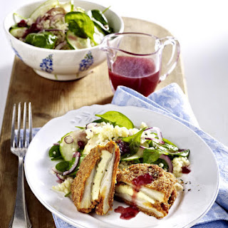 Mushroom Cordon Bleu with Cranberry Vinaigrette