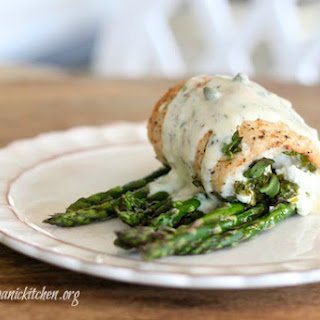 Spinach and Goat Stuffed Chicken Breast with Roasted Asparagus