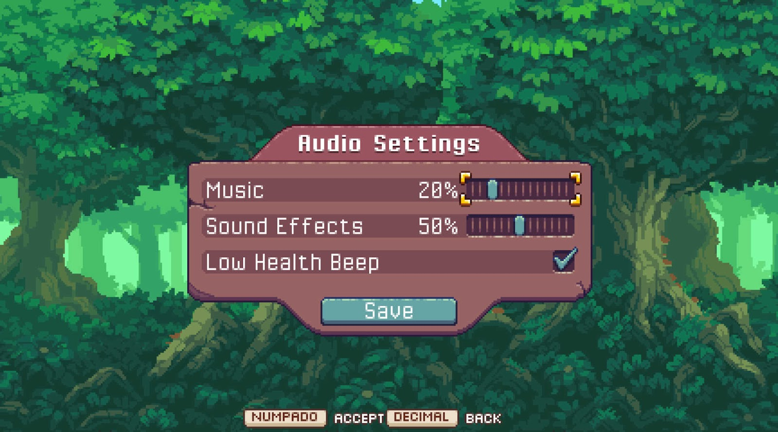 Music and Sound effects controls and Low health beep checkbox.