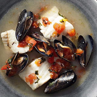 Fish and Mussels in Sparkling Wine