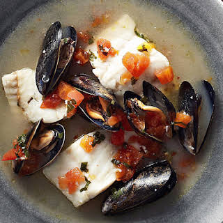 Fish and Mussels in Sparkling Wine.