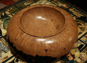 Photo: Top view of large, stemmed burl bowl by Chris Ramsey