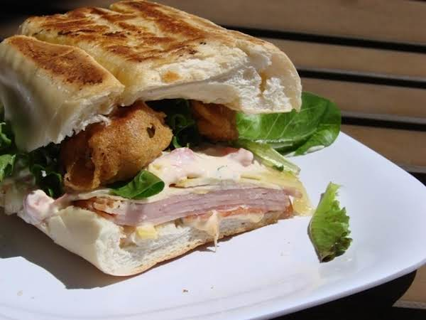 Cubano Sandwich With Fried Pickles And Spicy Aioli