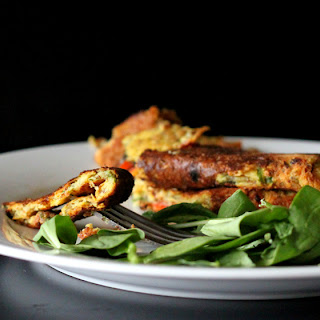 Chickpea flour Omelette with spinach, onion, tomato, bell peppers. Vegan Glutenfree Soyfree nutfree