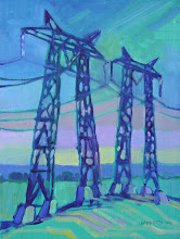 """Photo: Jersey Island Towers, oil on canvas 12"""" x 9"""" by Nancy Roberts, copyright 2014."""
