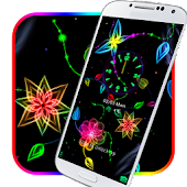 Neon colorful flower theme