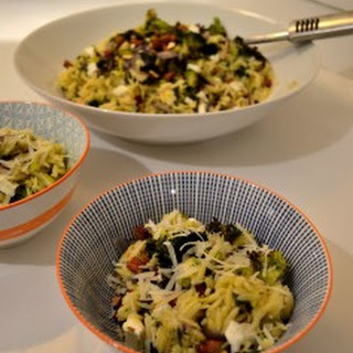 'Superfood' Orzo with roasted broccoli, curly kale and almonds.