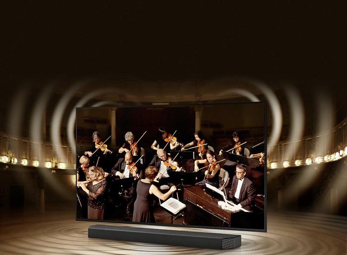 Công nghệ Q-symphony sẽ tận dụng sự đồng bộ liền mạch giữa loa thanh Soundbar và tivi