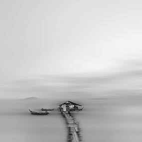 Dove Jetty Jelutong Expressway. by Ah Wei (Lung Wei) - Black & White Landscapes ( george town penang, monochrome, black and white, george town, jelutong expressway, penang, malaysia, penang island, dove jetty )