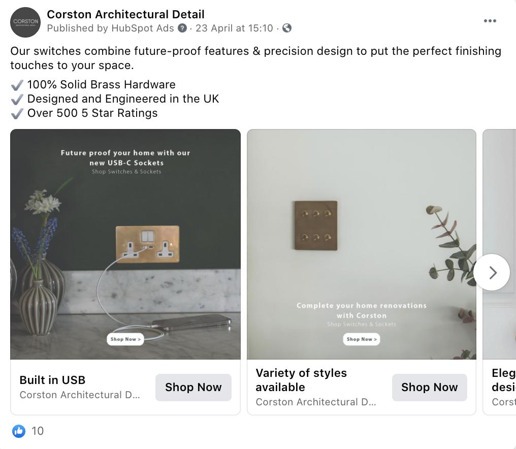 Luxury Homeware Brand: Carousel Example on Facebook