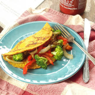 Veggie Stuffed Vegan Omelet.