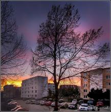 Photo: Turda - Calea Victoriei, parcare in Mr.1, apus de soare, vedere, Bloc Nr.4 de pe Str. Rapsodiei   - 2019.03.16
