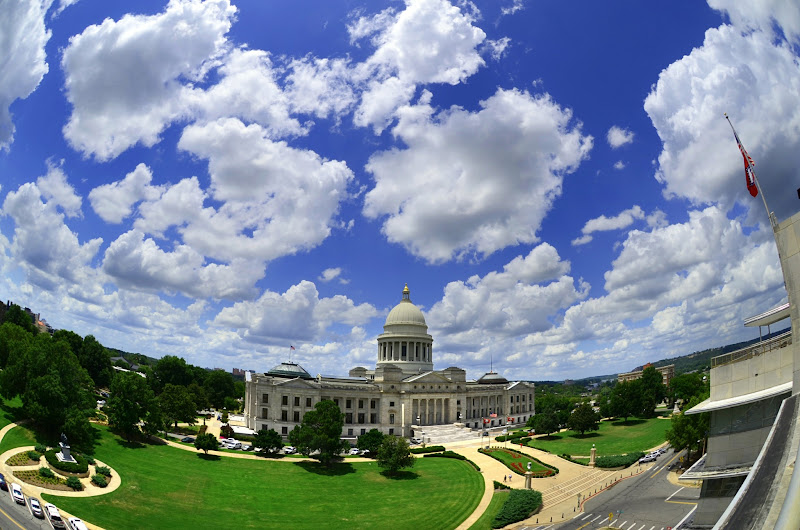 Photo: Clouds are the dust of His feet  (Nahum 1:3)  Arkansas State Capitol and grounds from a building across the street.  Part of a timelapse series, from 6/19/2012