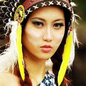 Apache Girl by Adhetja Atmadja Wardana - People Portraits of Women