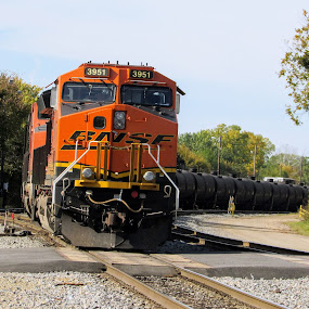 BNSF 3951 by Rick Covert - Transportation Trains ( railroad, locomotive, arkansas, railroad tracks, arkansas photographer, trains )