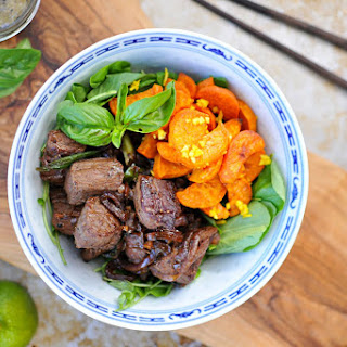 Vietnamese Shaking Beef With Gingered Sweet Potatoes