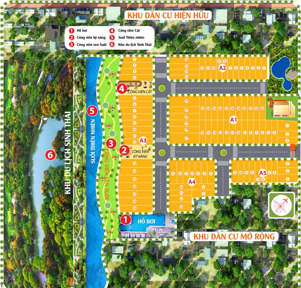 Các tiện ích trong khu đô thị được chú trọng tối đa (Ảnh: Sơ đồ quy hoạch dự án Long Thành Airport Village)