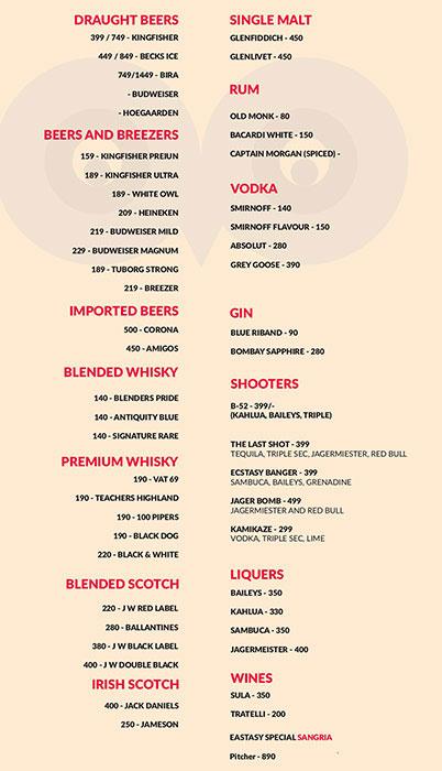 Ecstacy Bar n Eatery menu 1