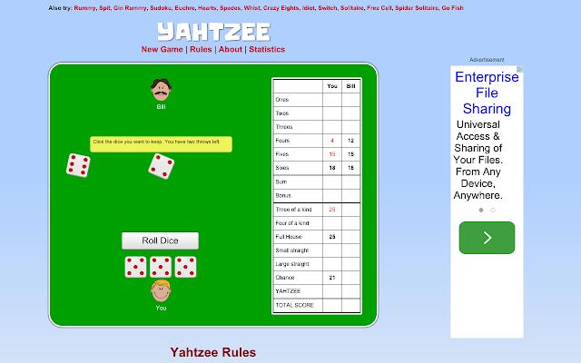 Play Yahtzee With Bill