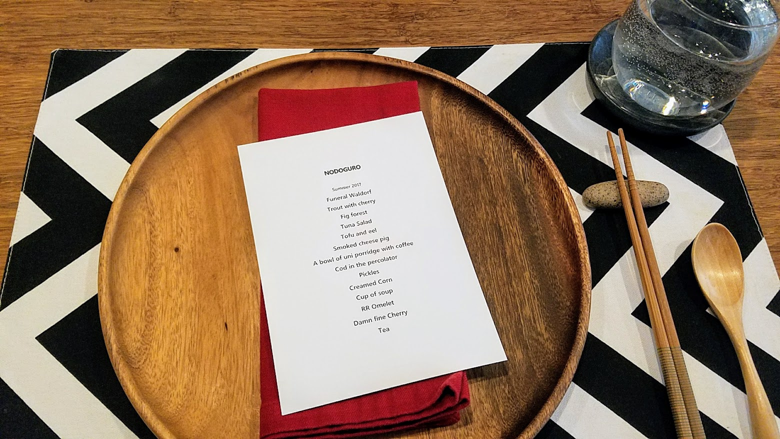 Nodoguro Twin Peaks Dinner 2 place setting and menu