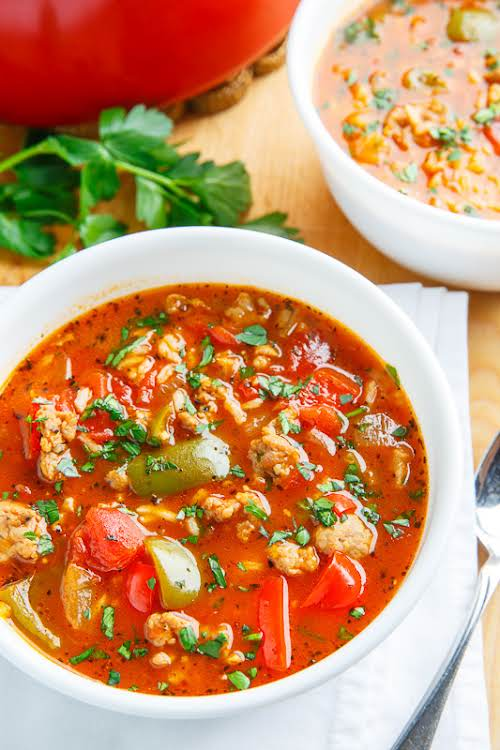 """Italian Sausage Stuffed Pepper Soup""""All of the flavours of stuffed peppers in..."""