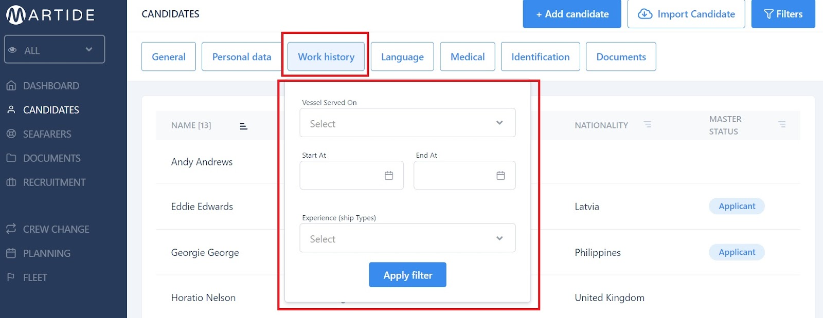 screenshot of the work history filter details