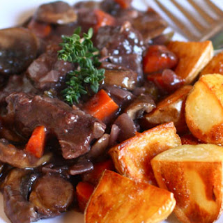 Beef Bourguignon with Roasted Potatoes.