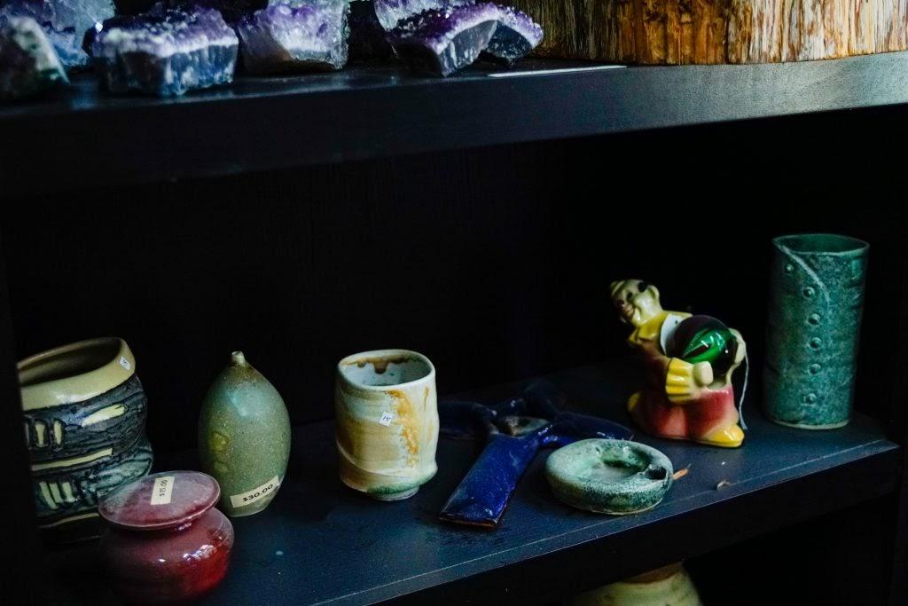 Betty Blu Pottery: Pottery on Shelf with Animal Figure