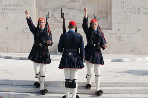The changing of the guard in Athens takes place once every hour.
