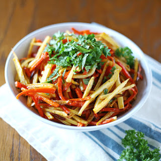 Roasted Parsnips and Carrots with Honey and Harissa