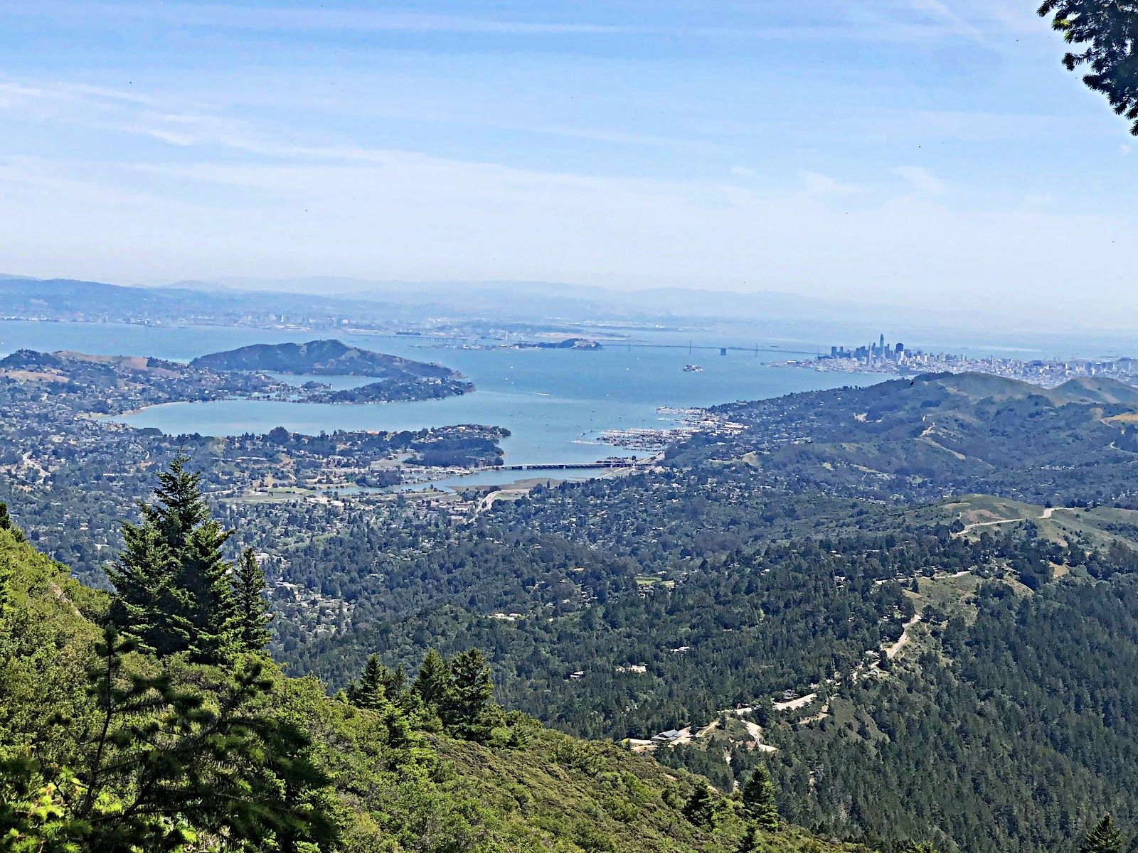 Climbing by bike Mt. Tam via Panoramic Hwy North - view from West Peak of San Francisco