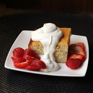 Yellow cake smothered in cream and berries #SundaySupper