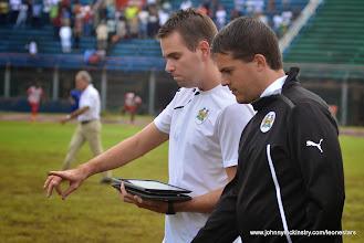 Photo: Tom Legg  (performance analyst) provides update on Performa Sports first-half match analysis [Leone Stars Vs. Equatorial Guinea, 7 Sept 2013 (Pic: Darren McKinstry)]