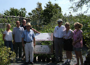Photo: Native Tree Nursery opening at the Queen Elizabeth II Botanic Park. L to R: Tytia, Andrew, John, Governor Stuart Jack, Mat, Ann, Eliza. Mar.14, 2009