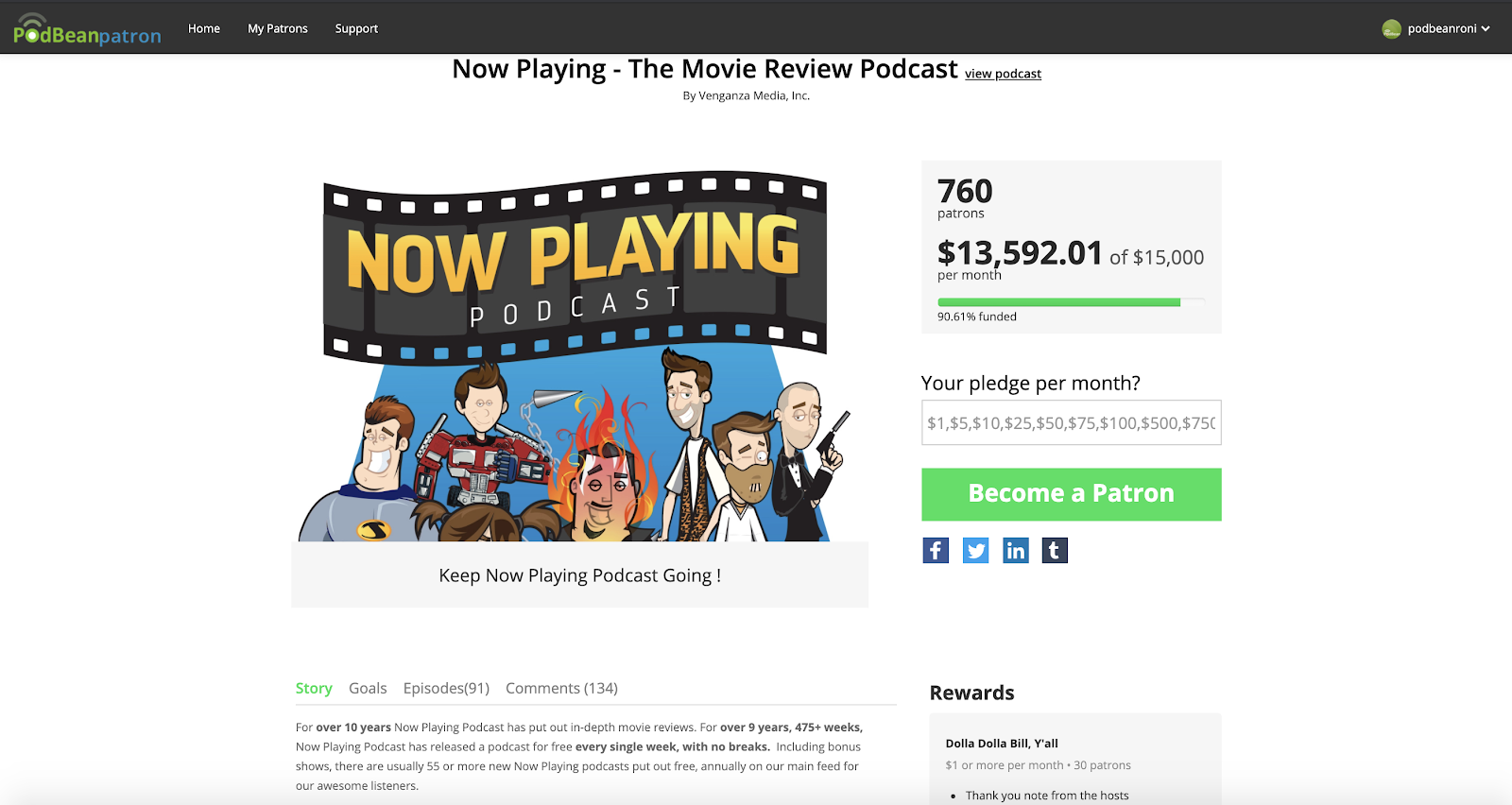 How To Monetize Your Podcast with Podbean: this image displays a screencap of the Patron page for the podcast Now Playing, which receives $13,592.01 a month.