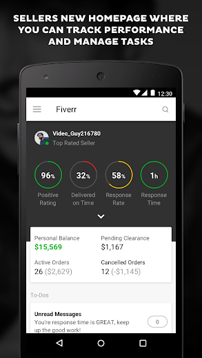 Screenshot 0 for Fiverr's Android app'