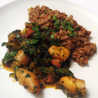 Saag Aloo & Masoor Dal (Potatoes & Spinach and Brown Lentils) Recipe