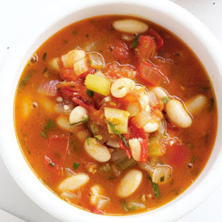 Chunky Tomato, Celery And Bean Soup.