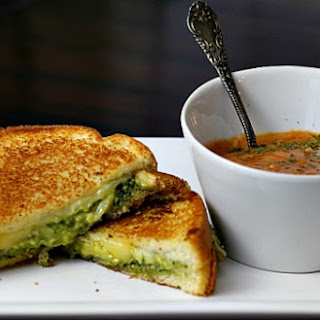Guacamole Grilled Cheese Sandwich with Pesto and Fontina.