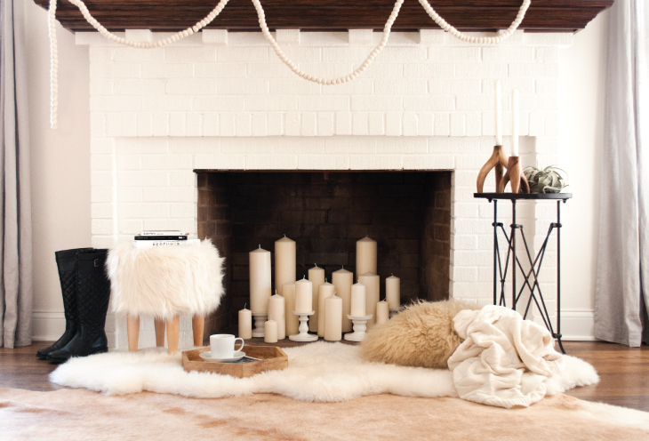 decorate your open fireplace with candles