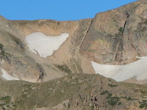 Photo: A closer view of our intended descent, the obvious steep gully  right of center. Photo by Bill Walker