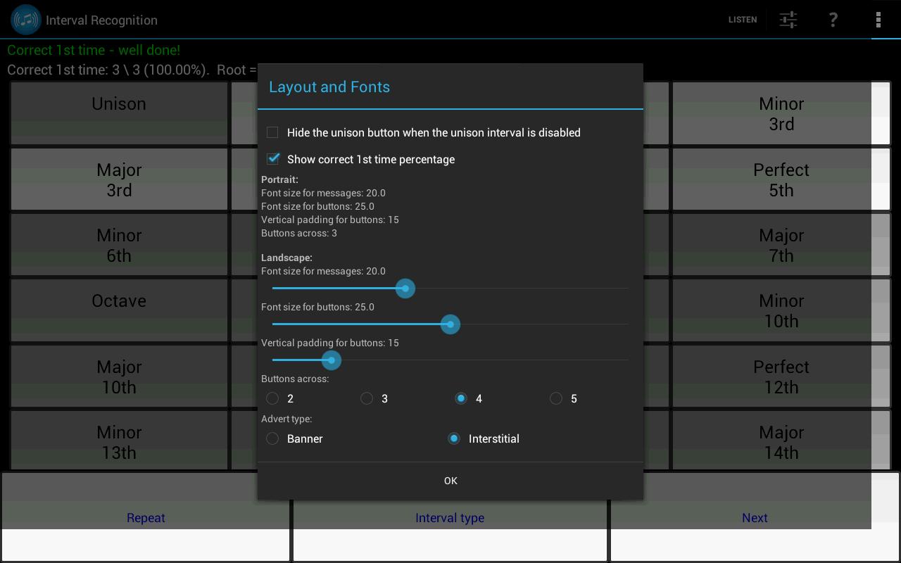Interval Recognition-Ear Train - screenshot