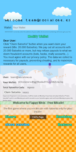 Code Triche Flappy Bitcoin Free - First Bitcoin Game APK MOD (Astuce) screenshots 2