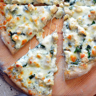 Chicken and Spinach Alfredo Pizza.
