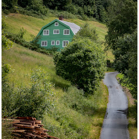 Olden,Norway by Chris Duffy - Buildings & Architecture Homes ( green, white, woodland, road, wooden, norway, windows, house, europe )