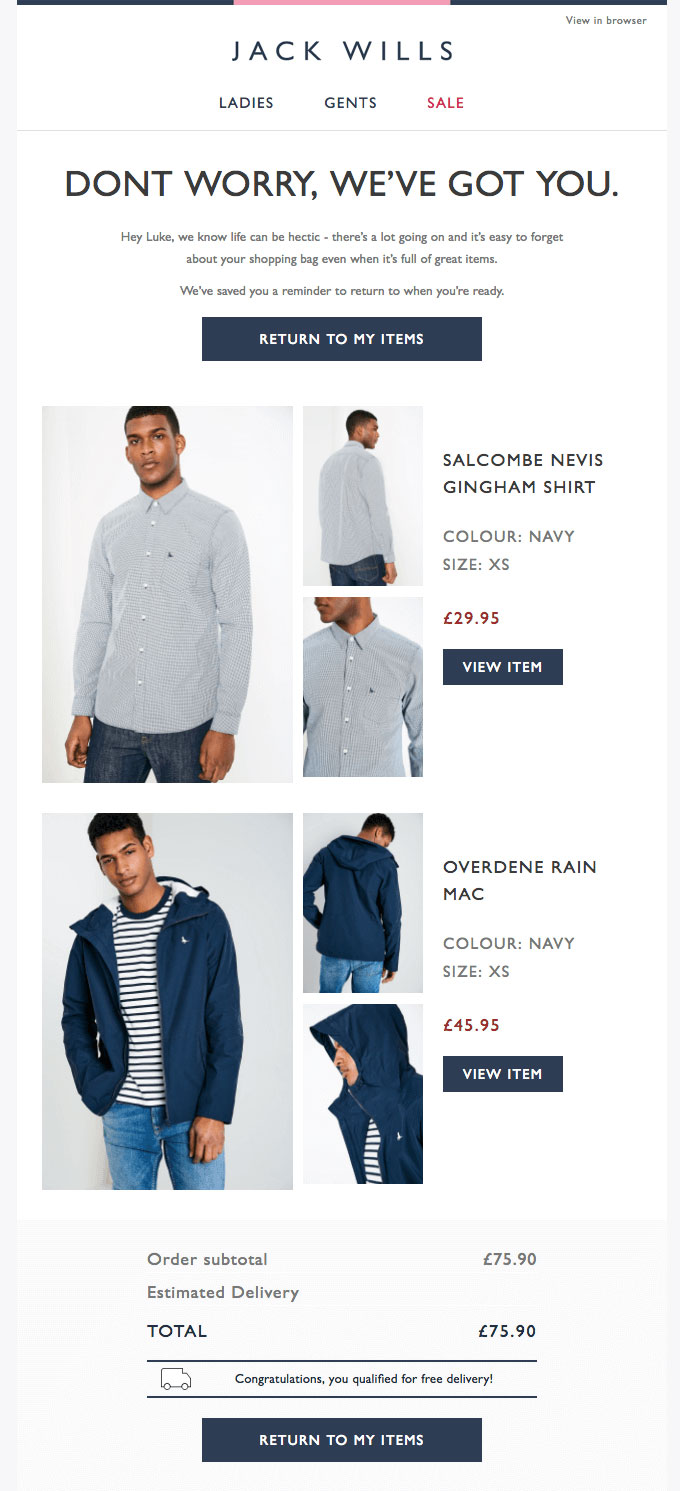 Example of Jack Wills email.